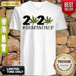 Cannabis Weed 2020 Quarantined COVID-19 V-neck
