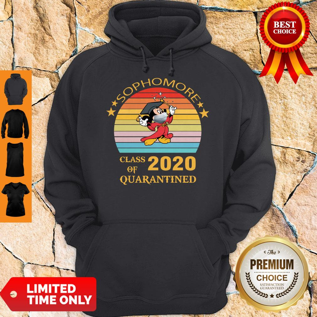 Premium Mickey Mouse Sophomore Class Of 2020 Quarantined Vintage Hoodie
