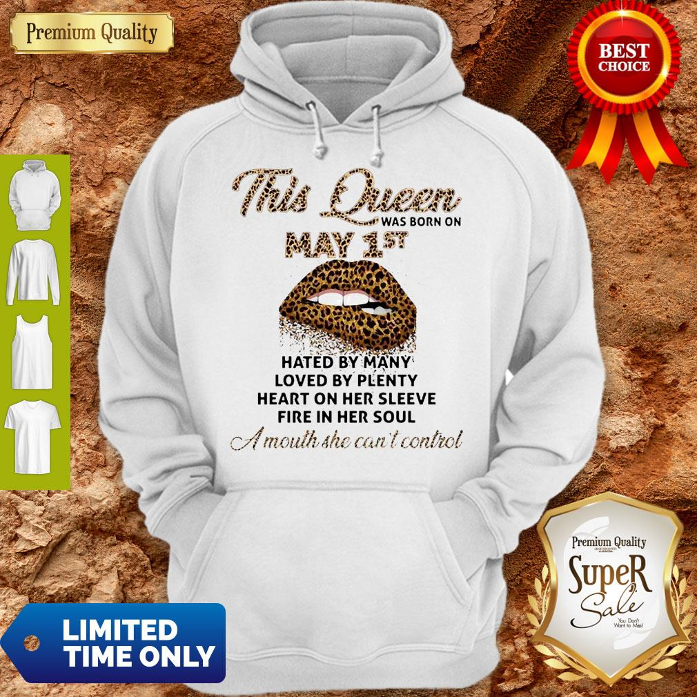 Cute Lips Leopard This Queen Was Born On May 1st Hated By Many Loved By Plenty Hoodie