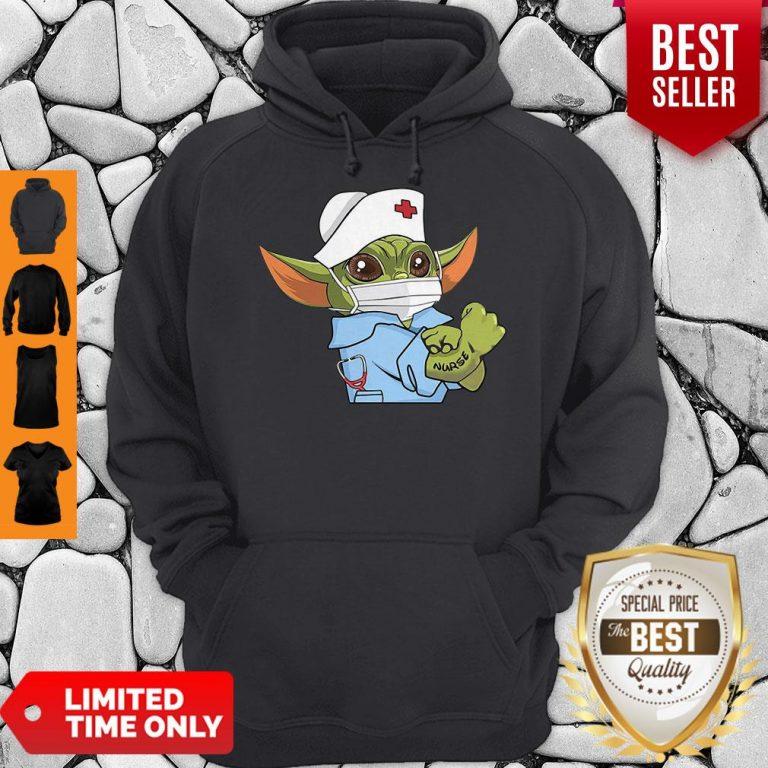 Cute Strong Baby Yoda Wearing Scrub Nurse Coronavirus Hoodie