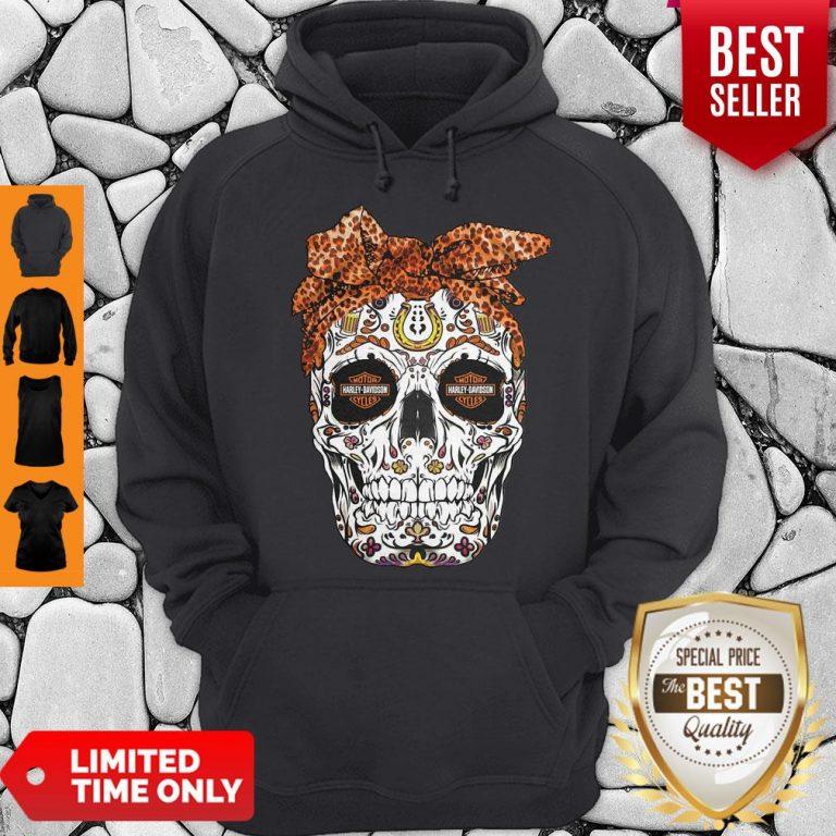 Pretty Sugar Skull Motorcycles Harley Davidson Hoodie