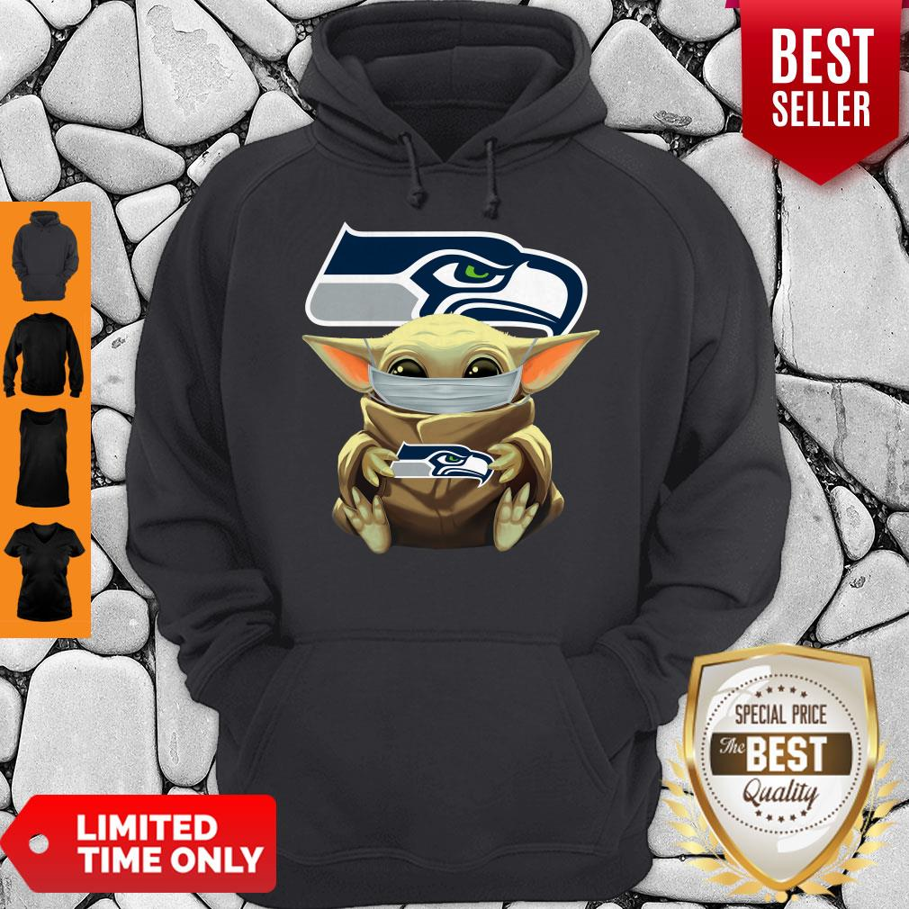 Official Baby Yoda Face Mask Hug Seattle Seahawks I Can't Stay At Home Hoodie