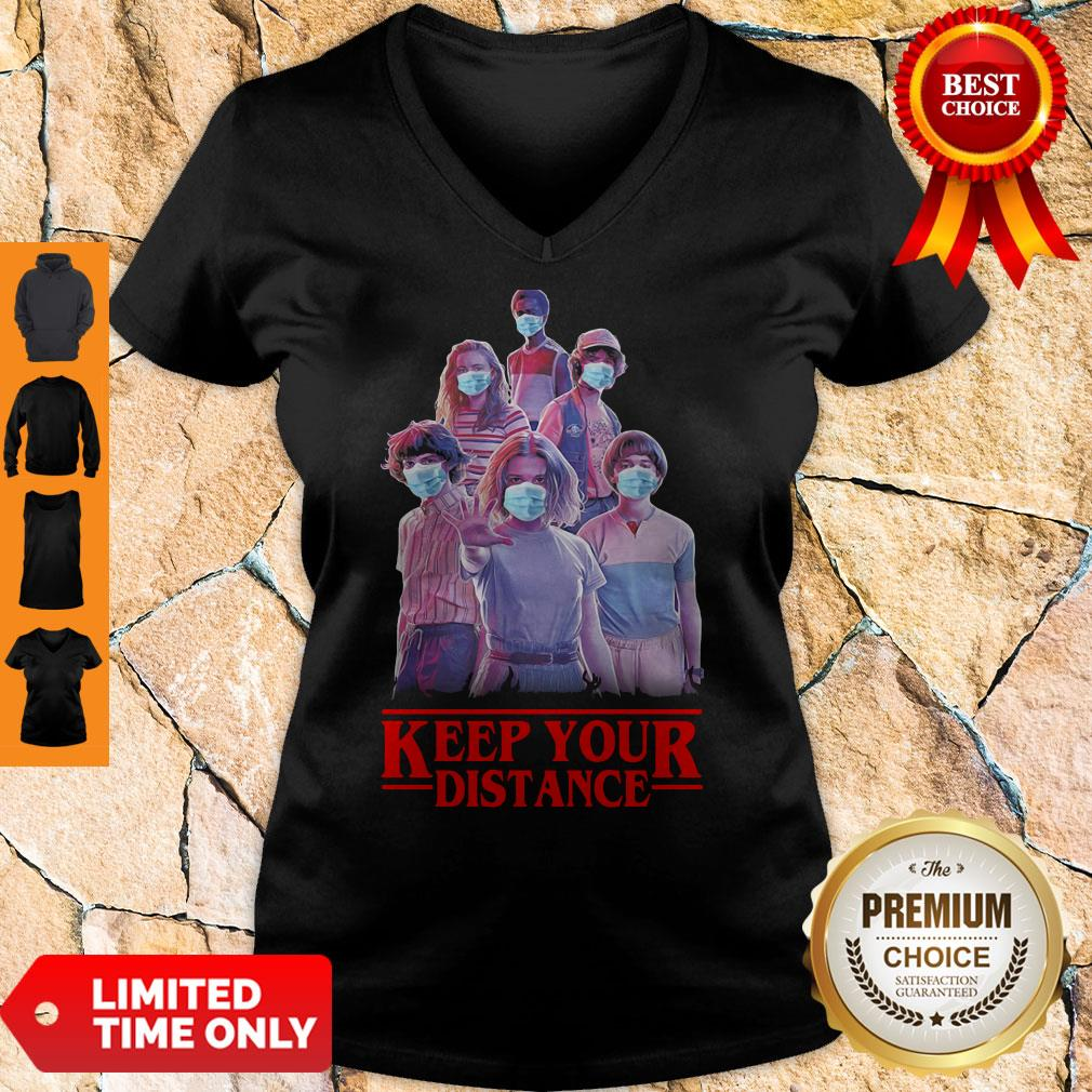 Hot Strangerthings Eleven Mike Will Max Dustin Lucas Season Keep Your Distance Covid-19 V-neck