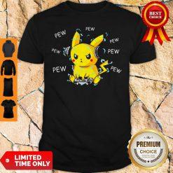 Pokemon Pikachu Playing Game Pew Pew Pew Shirt