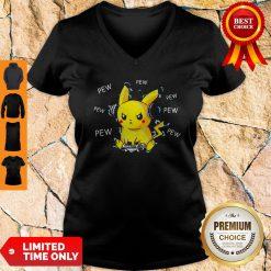 Pokemon Pikachu Playing Game Pew Pew Pew V-neck