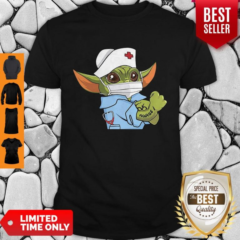 Cute Strong Baby Yoda Wearing Scrub Nurse Coronavirus Shirt