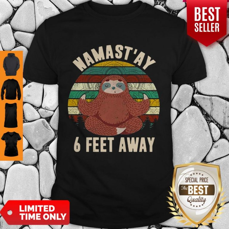 Cute 6 Feet Away Sloth Social Distancin Vintage Retro Covid-19 Tee Shirt