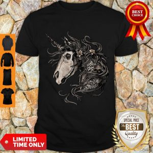 Premium Unicorn Skull Flower Shirt