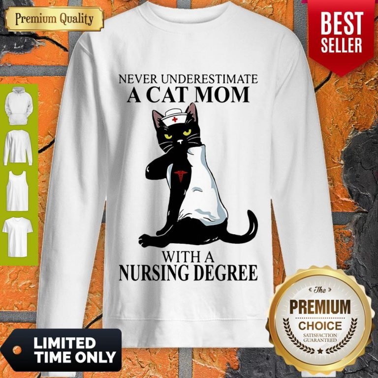 Cute Never Underestimate A Cat Mom With A Nursing Degree Sweatshirt