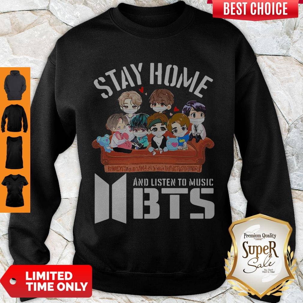 Official Stay home And Listen To Music BTS Sweatshirt