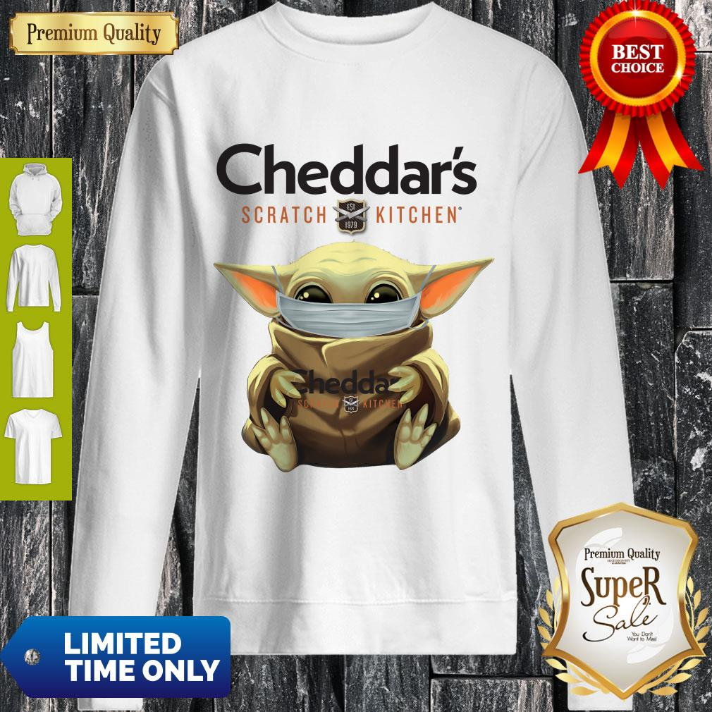 Cute Baby Yoda Mask Cheddar's Scratch Kitchen Coronavirus Sweatshirt