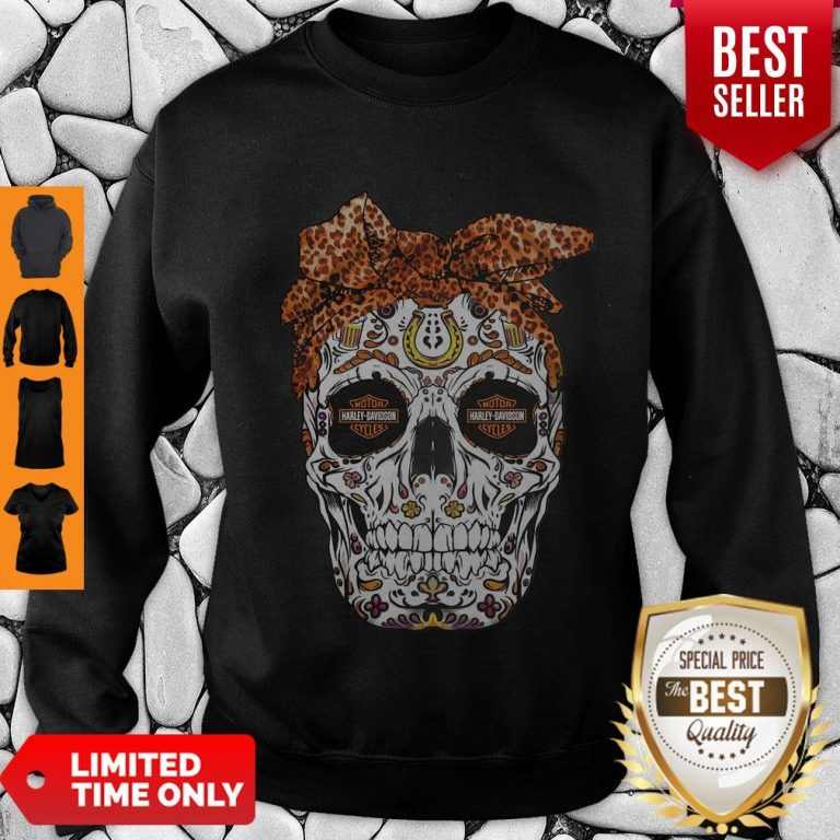 Pretty Sugar Skull Motorcycles Harley Davidson Sweatshirt