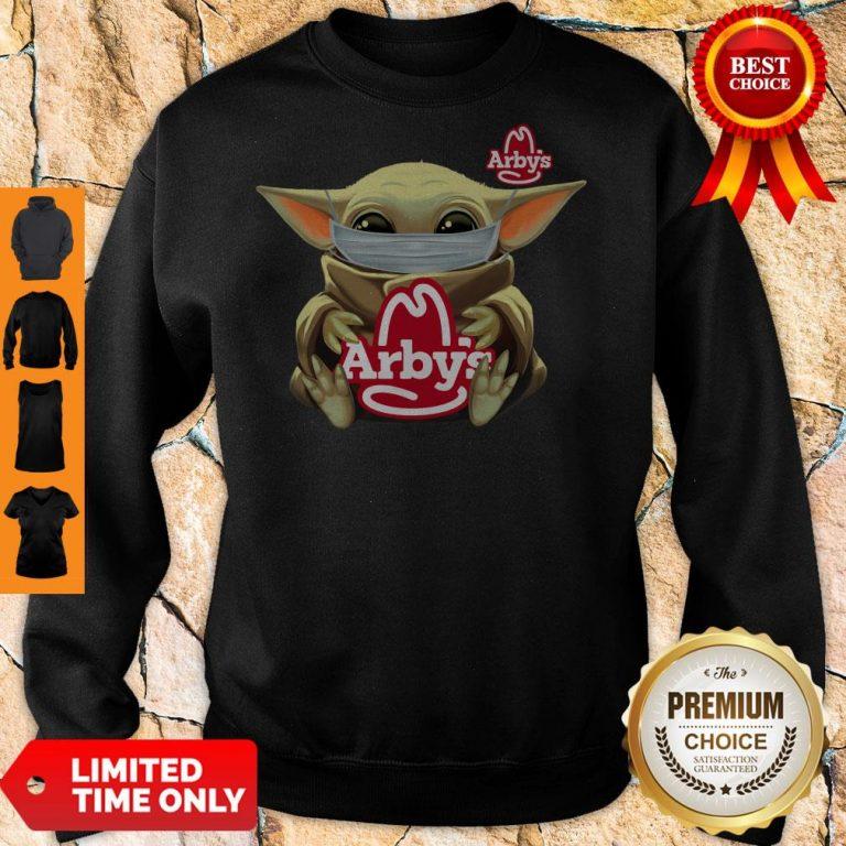 Official Baby Yoda Mask Hug Arbys Sweatshirt
