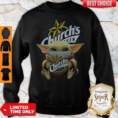 Hot Baby Yoda Mask Hug Church's Chicken Sweatshirt
