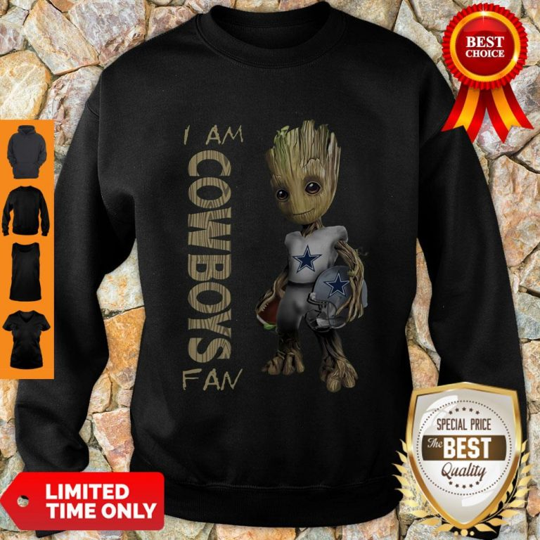 Nice Baby Groot I Am Dallas Cowboys Fan NFL Football Sweatshirt