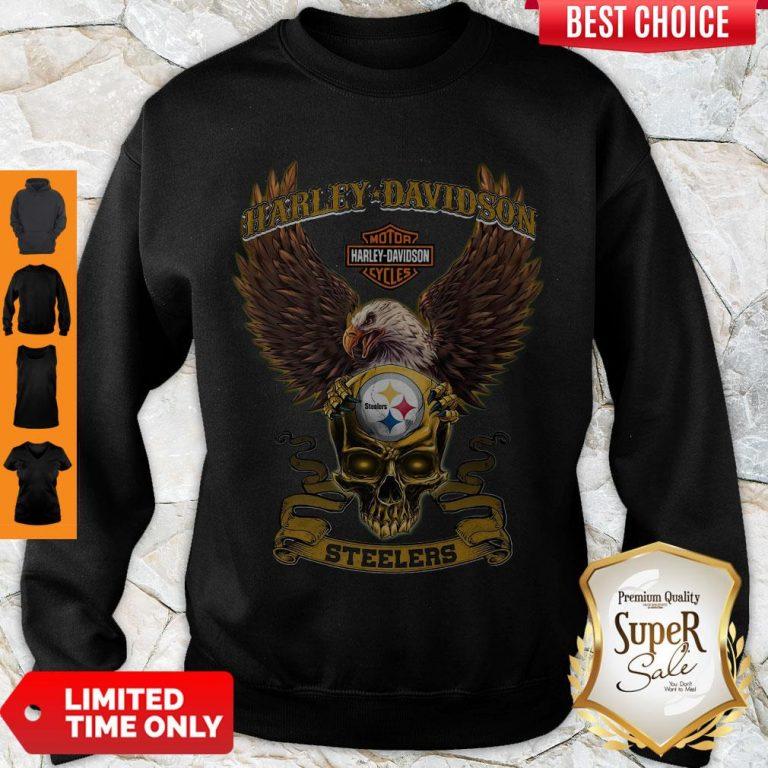 Pro Eagle Skull Harley-Davidson Pittsburgh Steelers Sweatshirt