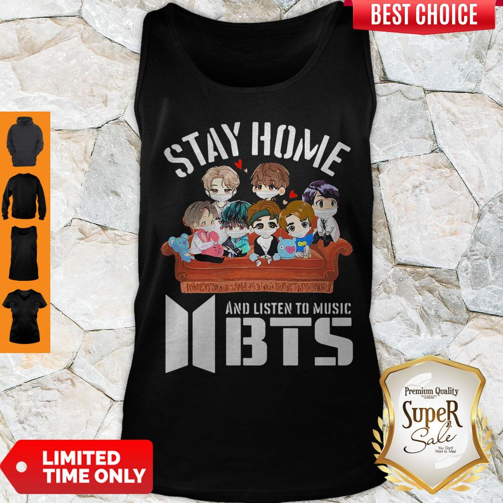 Official Stay home And Listen To Music BTS Tank Top
