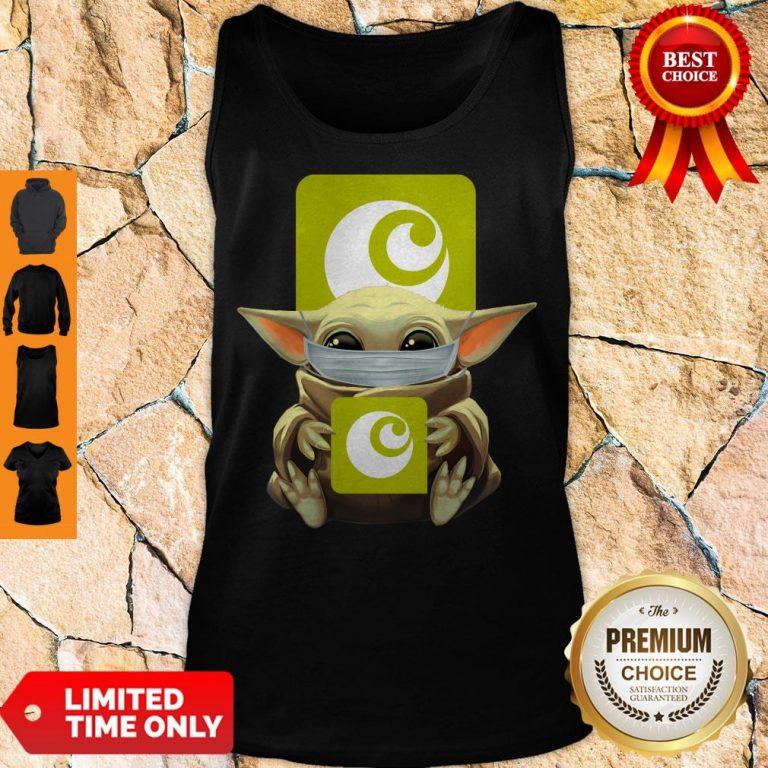 Premium Baby Yoda Mask Hugging Ocado Tank Top