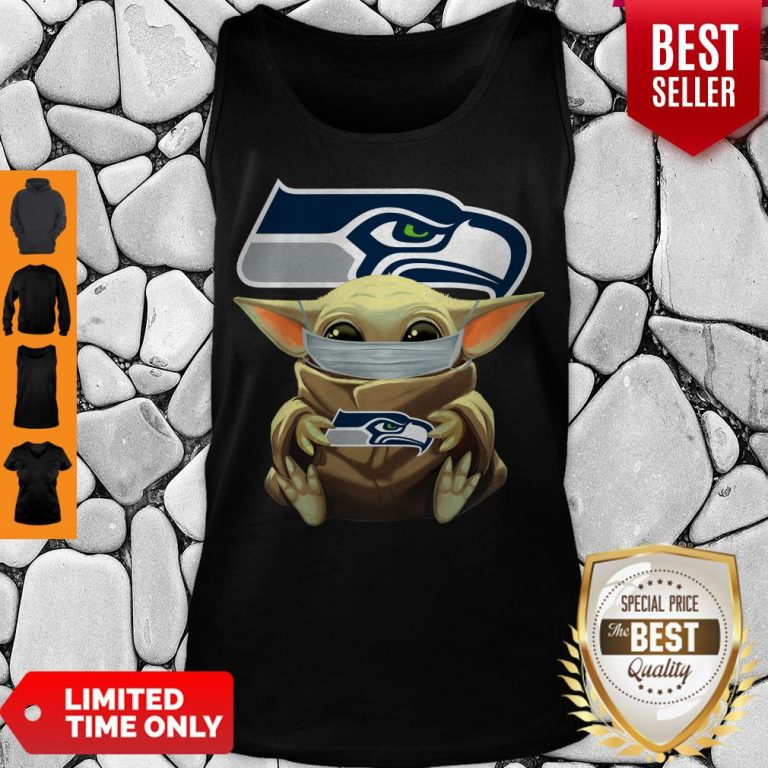 Official Baby Yoda Face Mask Hug Seattle Seahawks I Can't Stay At Home Tank Top