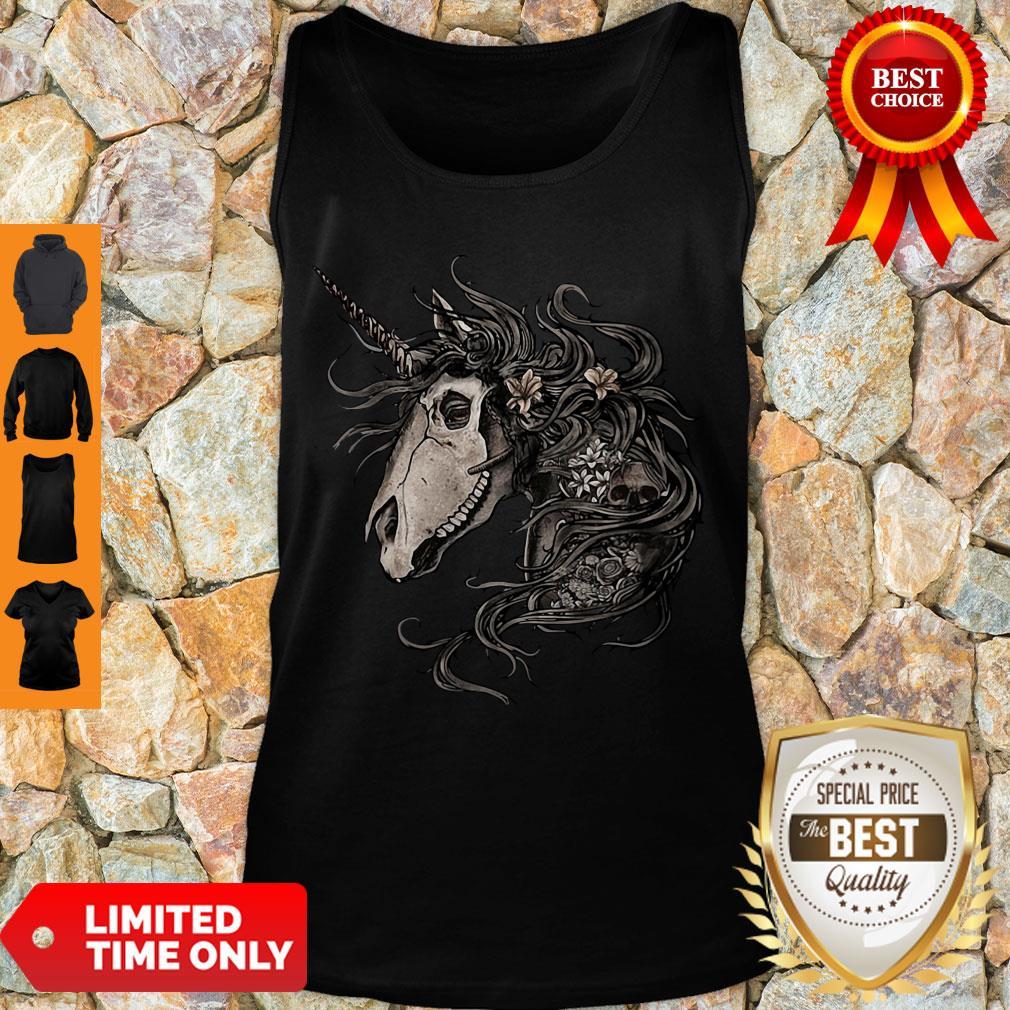 Premium Unicorn Skull Flower Tank Top