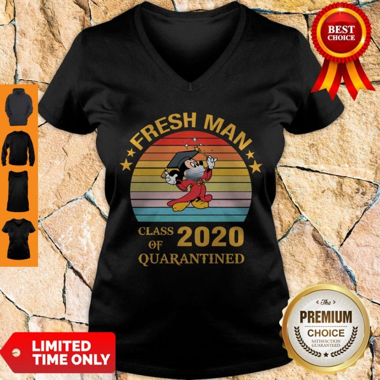 Pretty Mickey Mouse Freshman Class Of 2020 Quarantined Vintage V-neck