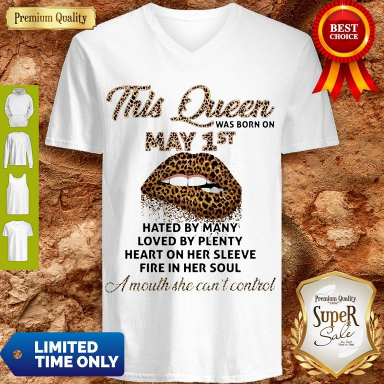 Cute Lips Leopard This Queen Was Born On May 1st Hated By Many Loved By Plenty V-neck
