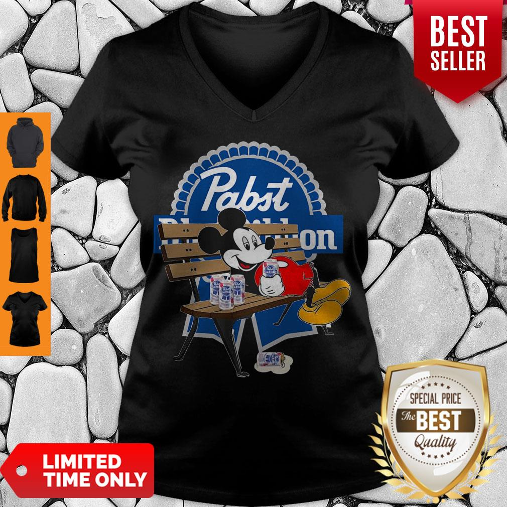 Top Mickey Mouse Drink Pabst Blue Ribbon V-neck