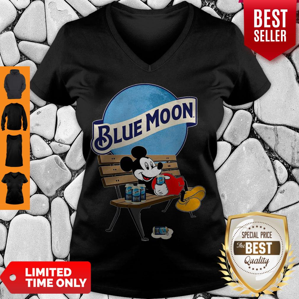 Cute Mickey Mouse Drink Pabst Blue Moon Beer V-neck