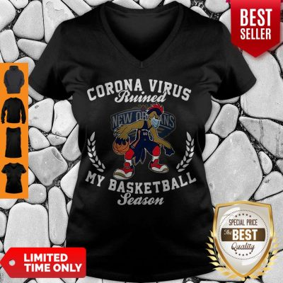 Pretty New Orleans Pelicans Mask Corona Virus Ruined My Basketball Season V-neck