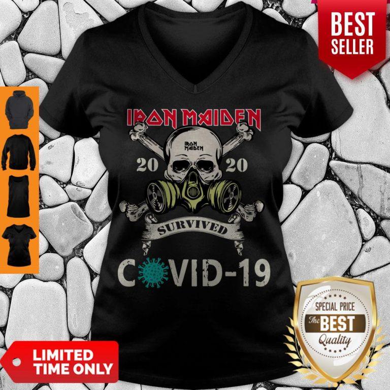 Top Original Skull Iron Maiden 2020 Survived Covid 19 V-neck