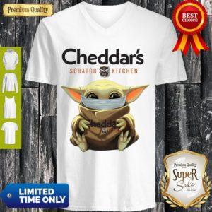 Cute Baby Yoda Mask Cheddar's Scratch Kitchen Coronavirus V-neck
