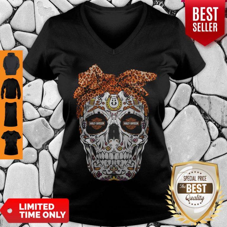 Pretty Sugar Skull Motorcycles Harley Davidson V-neck