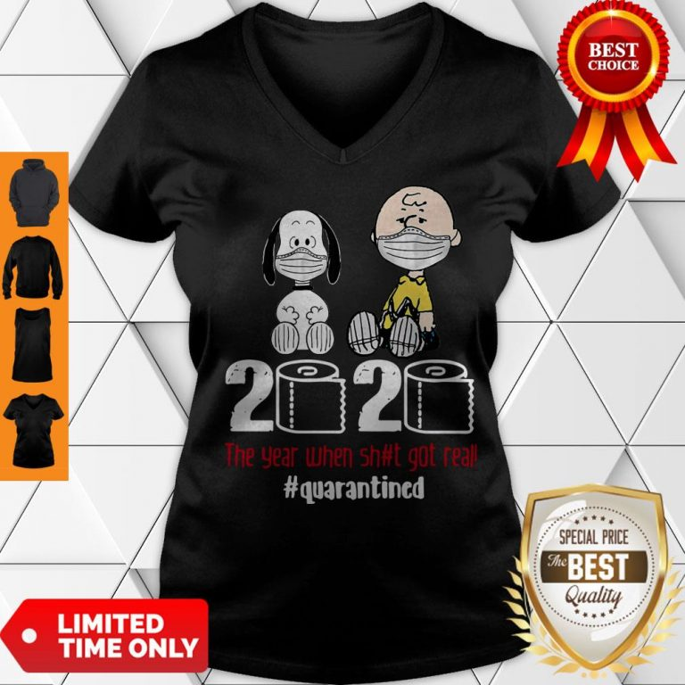 Hot Snoopy And Charlie Brown 2020 The Year When Shit Got Real #Quatantined V-neck