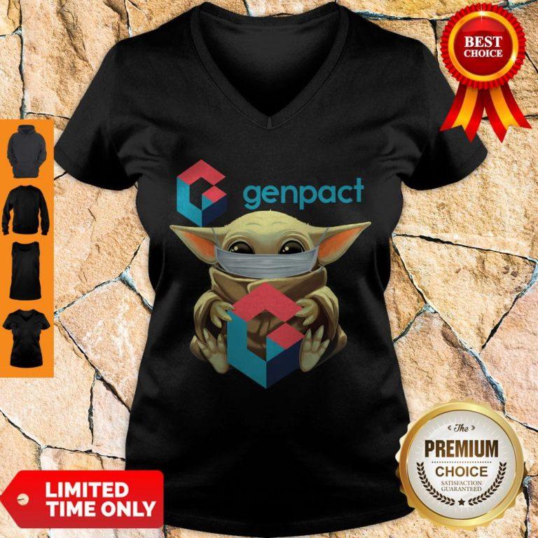 Pro Baby Yoda Mask Hug Genpact V-neck