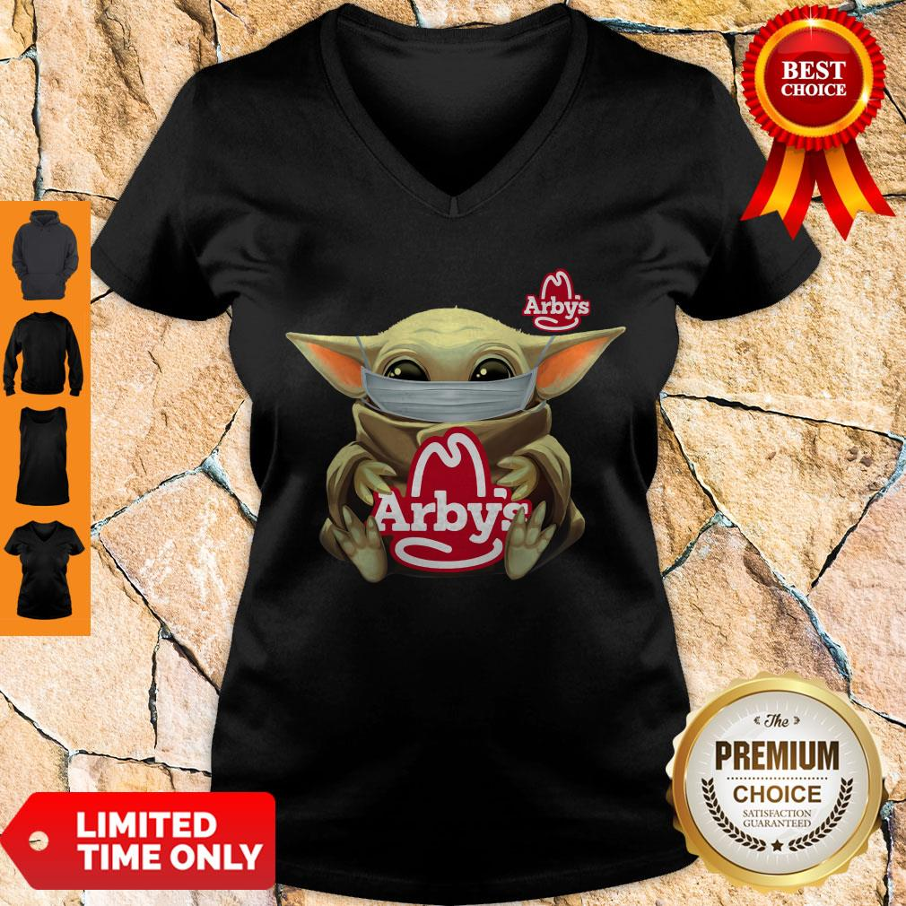 Official Baby Yoda Mask Hug Arbys V-neck