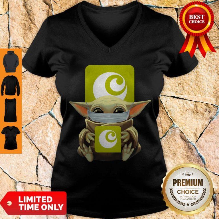 Premium Baby Yoda Mask Hugging Ocado V-neck