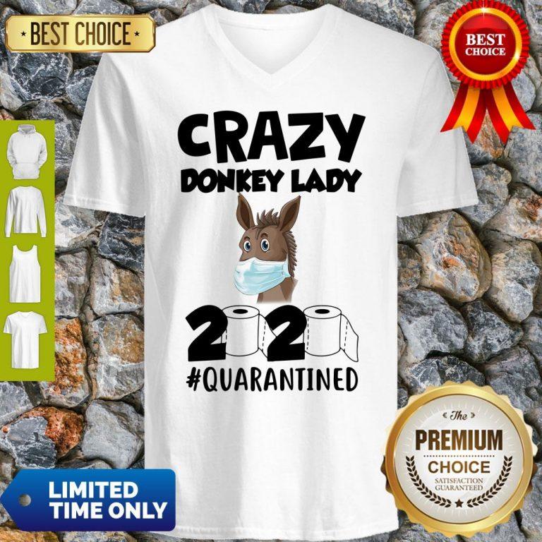 Pretty Crazy Donkey Lady 2020 Quarantined V-neck