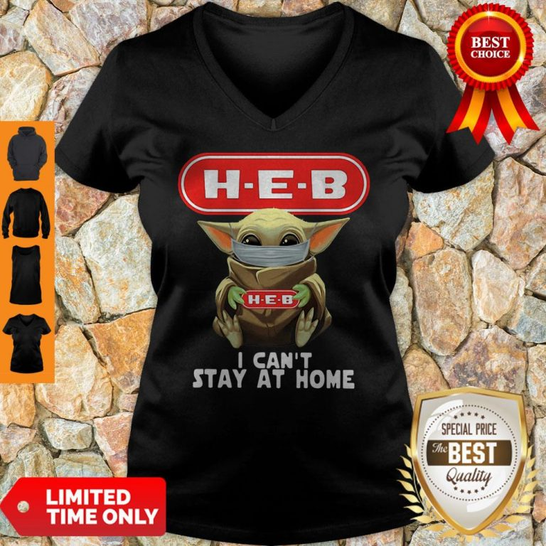 Premium Baby Yoda Mask H-E-B I Can't Stay At Home Covid-19 V-neck