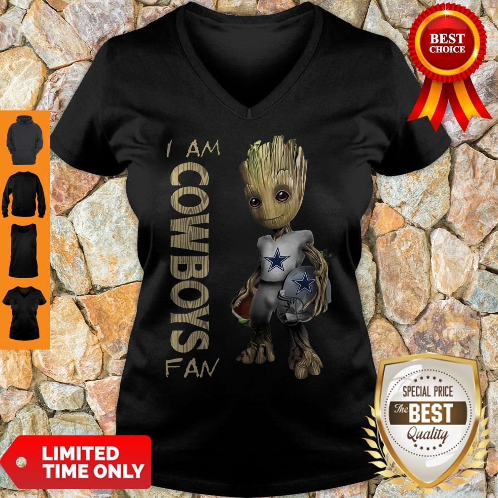 Nice Baby Groot I Am Dallas Cowboys Fan NFL Football V-neck