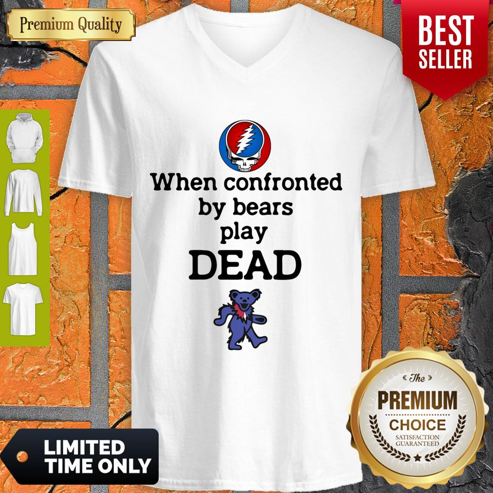 Nice When Confronted By Bears Play Dead Grateful Dead Logo V-neck