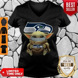 Official Baby Yoda Face Mask Hug Seattle Seahawks I Can't Stay At Home V-neck