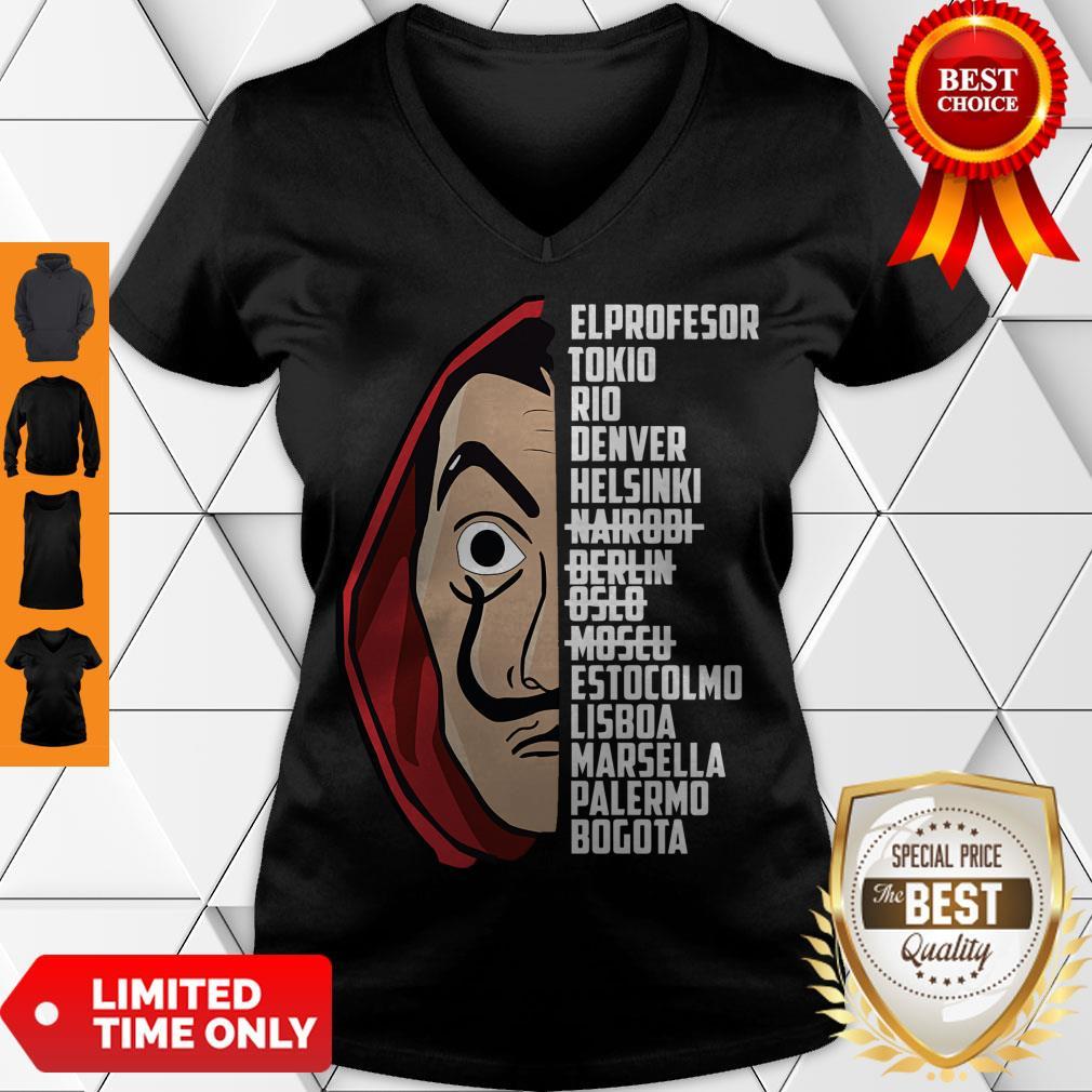 Premium El Profesor Tee Shirt Bella Ciao V-neck