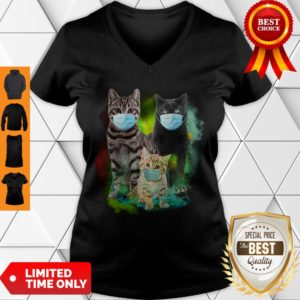 Cute Cat Wear Face Mask Tee V-neck
