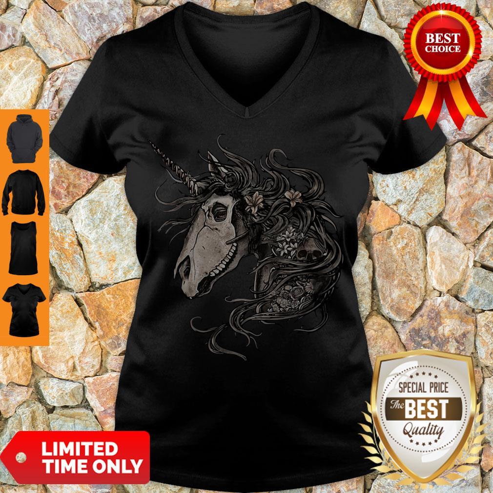 Premium Unicorn Skull Flower V-neck