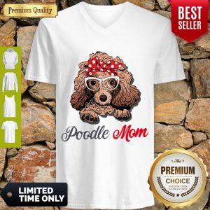 Pretty Poodle Wear Glasses Dog Mom V-neck