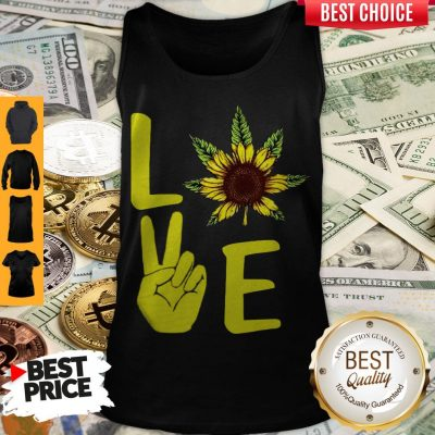 Awesome Love Hands Sunflower Weed Tank Top