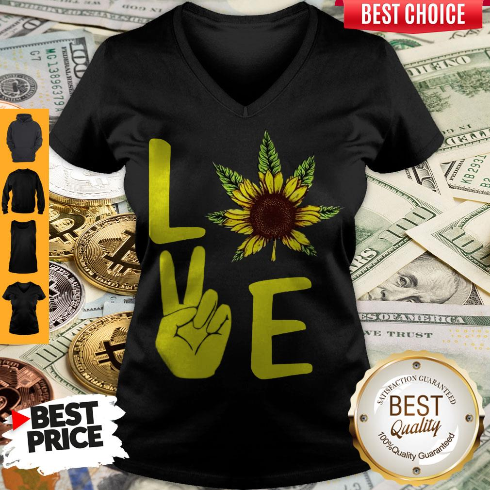 Awesome Love Hands Sunflower Weed V-neck