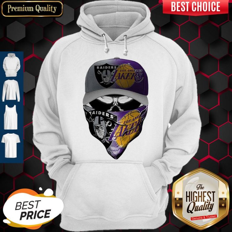 Awesome Skull Mask Oakland Raiders And Los Angeles Lakers Hoodie