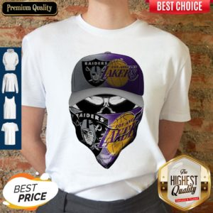 Awesome Skull Mask Oakland Raiders And Los Angeles Lakers Shirt