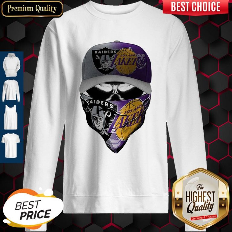 Awesome Skull Mask Oakland Raiders And Los Angeles Lakers Sweatshirt